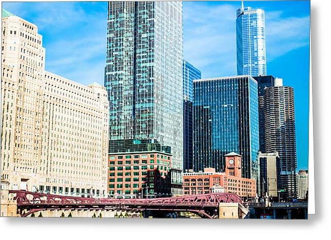 Picture of Chicago River Skyline at Franklin Bridge Greeting Card by Paul Velgos