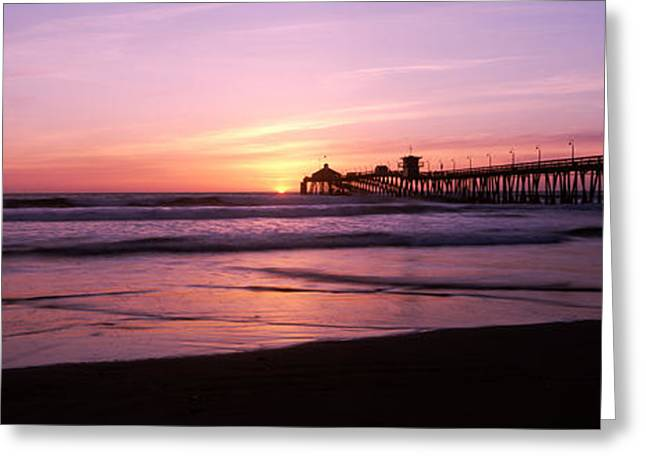 California Ocean Photography Greeting Cards - Pier In The Pacific Ocean At Dusk, San Greeting Card by Panoramic Images