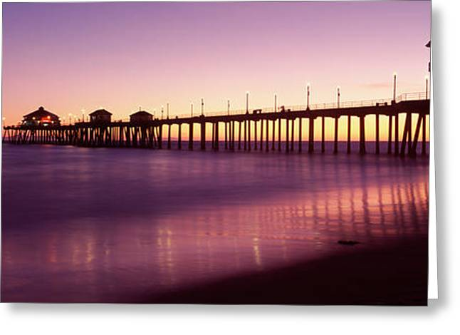 California Beach Greeting Cards - Pier In The Sea, Huntington Beach Pier Greeting Card by Panoramic Images