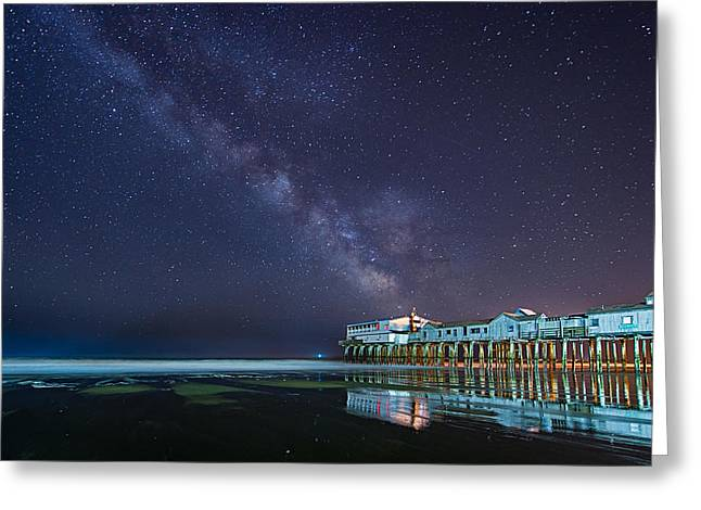 Maine Beach Greeting Cards - Pier in the Stars Greeting Card by Michael Blanchette