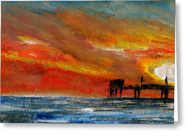Sea Platform Mixed Media Greeting Cards - 1 Pier Greeting Card by R Kyllo