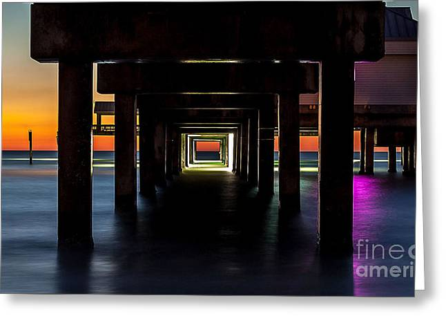 Reflection In Water Greeting Cards - Pier Under II Greeting Card by Steven Reed