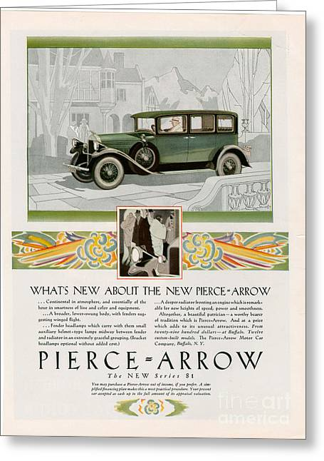 American Automobiles Greeting Cards - Pierce Arrow 1928 1920s Usa Cc Cars Greeting Card by The Advertising Archives