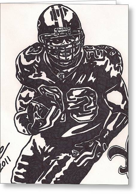 Player Drawings Greeting Cards - Pierre Thomas Greeting Card by Jeremiah Colley