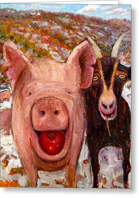 Vermont Rooster Greeting Cards - Pig and Goat Greeting Card by Paul Emory