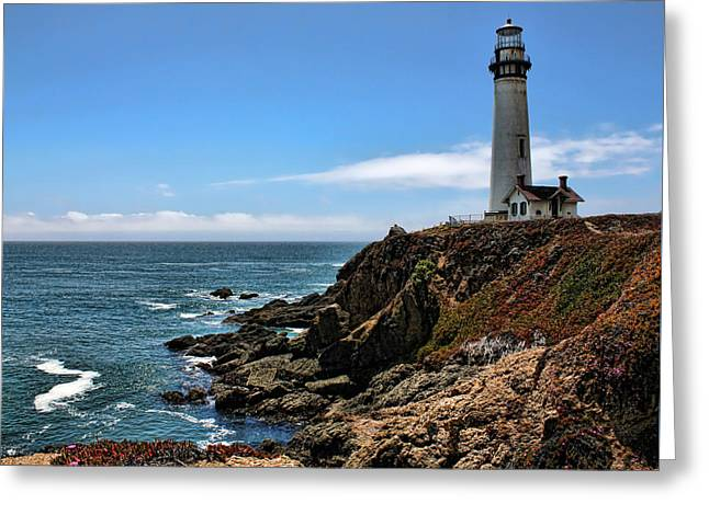 California Ocean Photography Greeting Cards - Pigeon Point Lighthouse Greeting Card by Judy Vincent