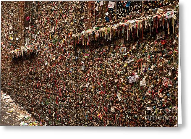 Open Market Greeting Cards - Pike Place Market Gum Wall In Alley Greeting Card by Jim Corwin