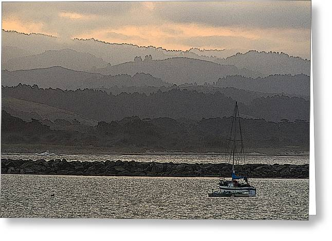 Santa Cruz Sailboat Greeting Cards - Pillar Point Harbor Below Half Moon Bay Hills Greeting Card by Scott Lenhart