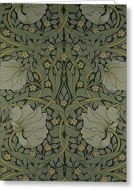 Leaves Tapestries - Textiles Greeting Cards - Pimpernel wallpaper design Greeting Card by William Morris