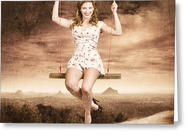 Outlook Greeting Cards - Pin-up beauty enjoying summer rain in Australia  Greeting Card by Ryan Jorgensen