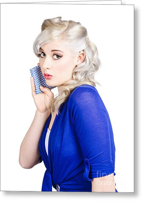 Shyness Greeting Cards - Pin up girl whispering with handkerchief Greeting Card by Ryan Jorgensen