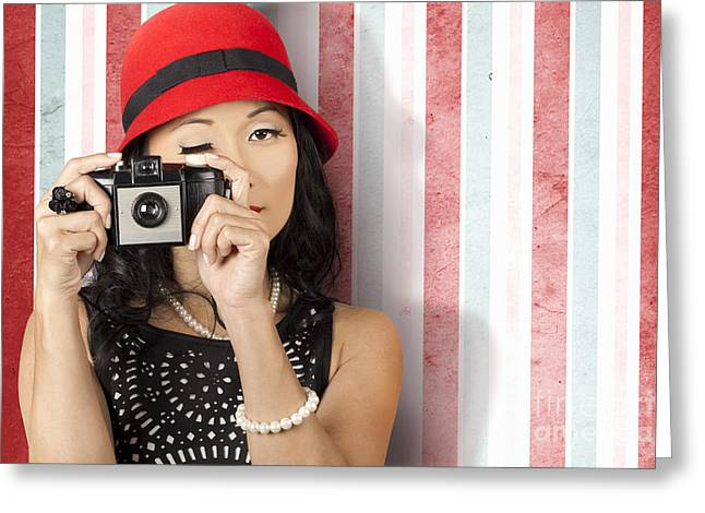 Pin-up Photographer In 40s Fashion Holding Camera Greeting Card by Jorgo Photography - Wall Art Gallery