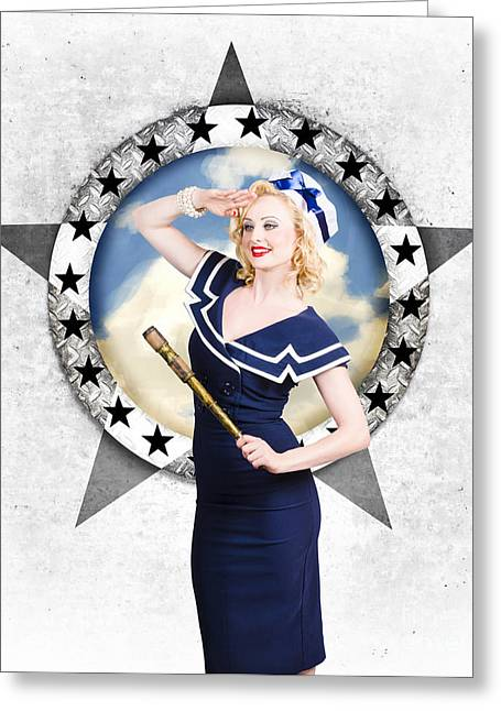 Ahoy Greeting Cards - Pin-up sailor girl on boat. Holiday abroad Greeting Card by Ryan Jorgensen
