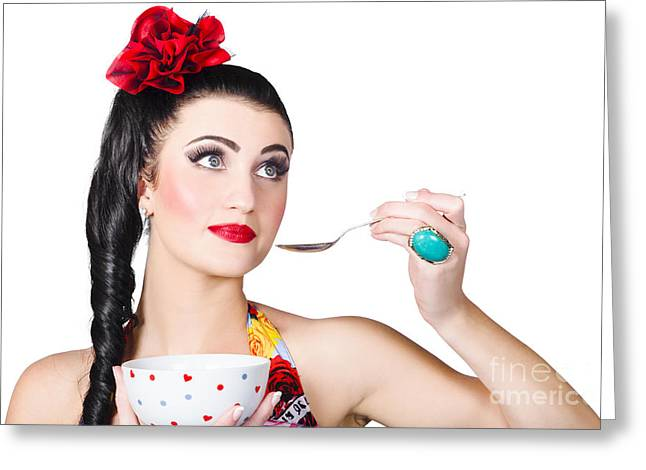 Pin-up Woman Eating Breakfast Cereal With Spoon Greeting Card by Jorgo Photography - Wall Art Gallery