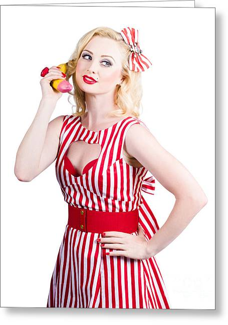 Grocery Store Greeting Cards - Pin up woman ordering organic food on banana phone Greeting Card by Ryan Jorgensen