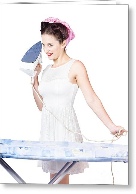 Ironing Board Greeting Cards - Pin up woman providing steam clean ironing service Greeting Card by Ryan Jorgensen