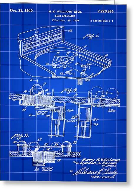 Pinball Machine Patent 1939 - Blue Greeting Card by Stephen Younts
