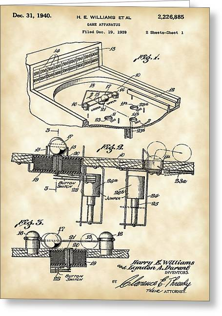 Coins Greeting Cards - Pinball Machine Patent 1939 - Vintage Greeting Card by Stephen Younts