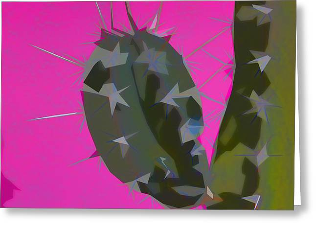 Southwest Greeting Cards - Pink and Green Cactus Collage Greeting Card by Carol Leigh
