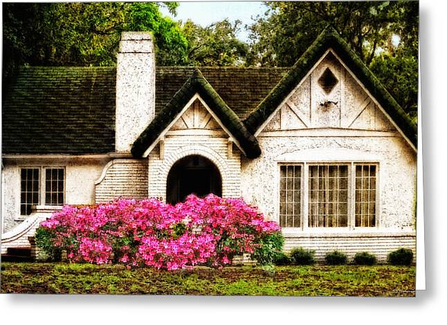 Old House Photographs Greeting Cards - Pink Azaleas - Old Southern Charm By Sharon Cummings Greeting Card by Sharon Cummings