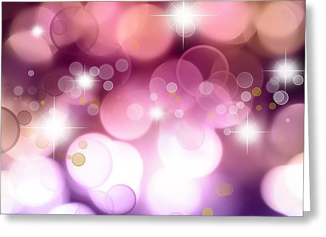 Star Bright Greeting Cards - Pink background Greeting Card by Les Cunliffe