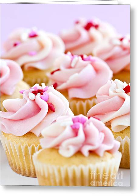 Cupcakes Greeting Cards - Pink Cupcakes Greeting Card by Elena Elisseeva