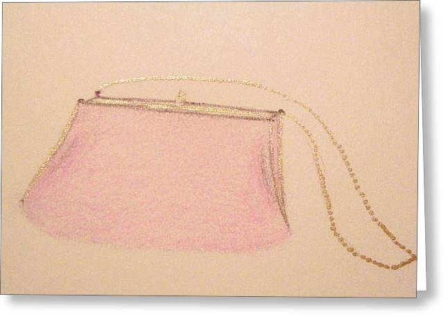Stil Life Pastels Greeting Cards - Pink Evening Purse Greeting Card by Christine Corretti