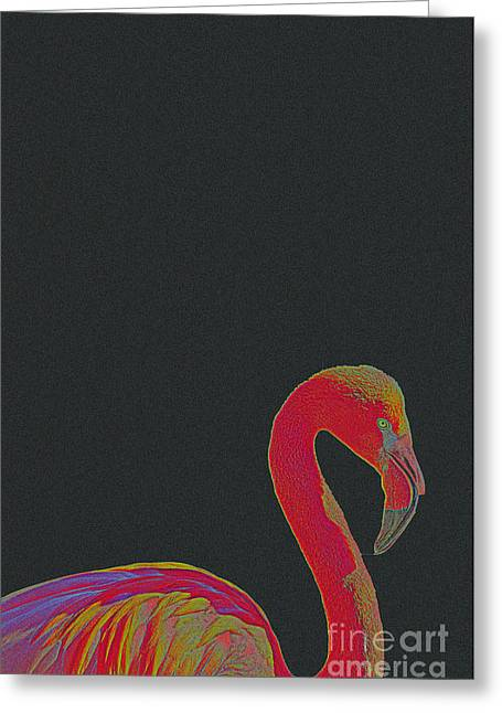 Tropical Beach Mixed Media Greeting Cards - Pink Flamingo Greeting Card by Celestial Images