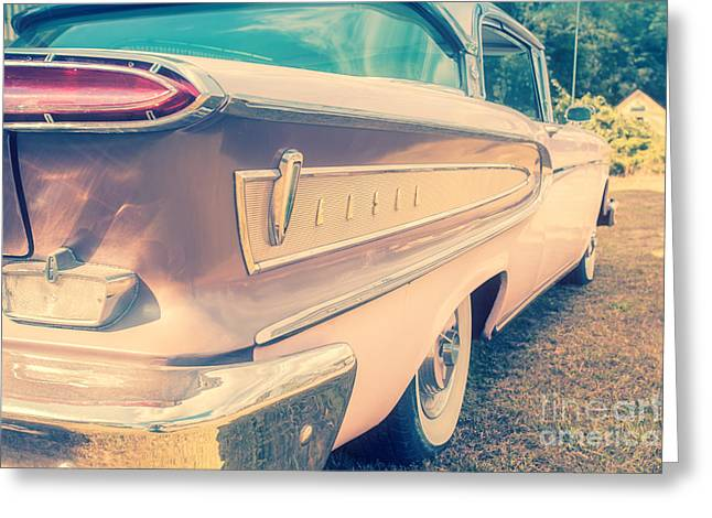 Timer Greeting Cards - Pink Ford Edsel  Greeting Card by Edward Fielding