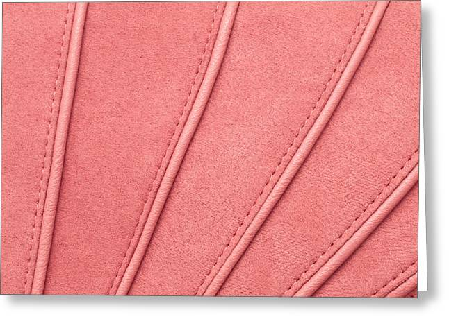 Background Greeting Cards - Pink moleskin Greeting Card by Tom Gowanlock