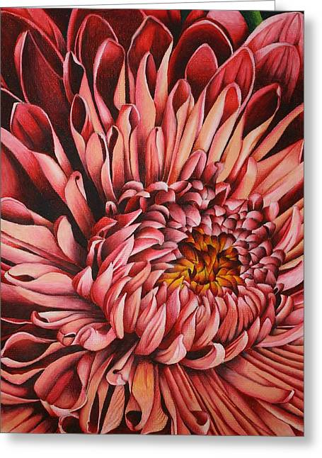 Prisma Colored Pencil Drawings Greeting Cards - Pink Mum Greeting Card by Bruce Bley