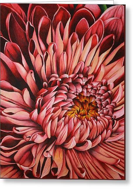 Macro Drawings Greeting Cards - Pink Mum Greeting Card by Bruce Bley