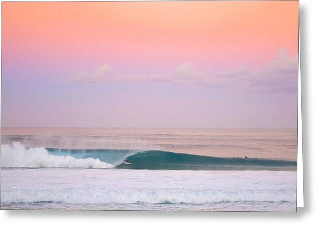 Big Wave Surfing Greeting Cards - Pink Pipe Greeting Card by Sean Davey