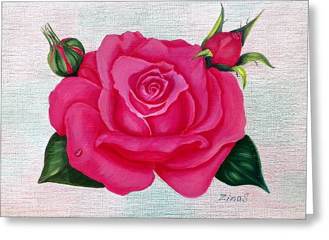Plant Paintings Greeting Cards - Pink rose Greeting Card by Zina Stromberg