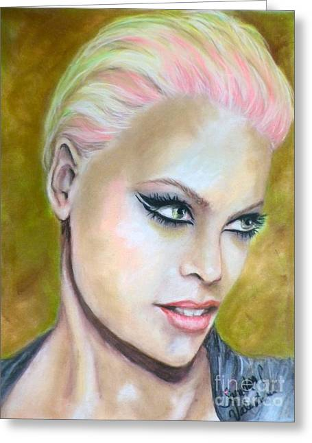 Pop Singer Pastels Greeting Cards - Pink Greeting Card by Sandra Valentini