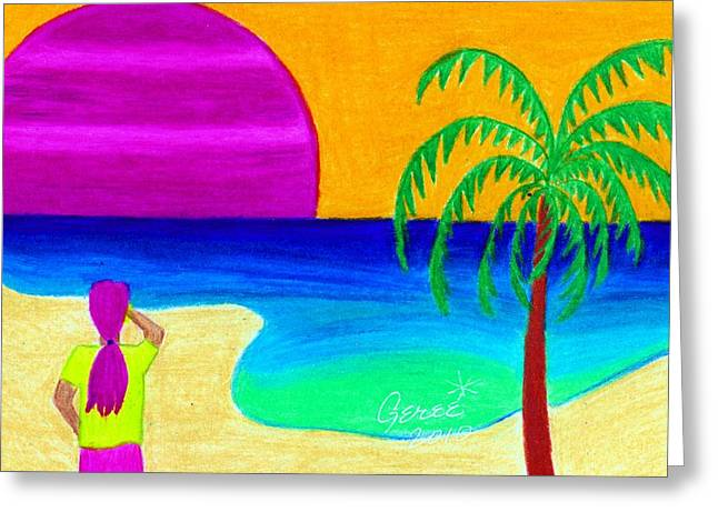 Sand Greeting Cards - Pink Sunset Greeting Card by Geree McDermott