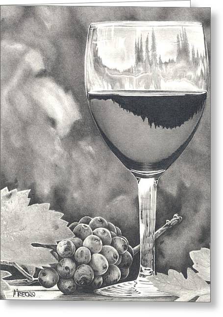 Wine-glass Drawings Greeting Cards - Pinot Adoration Greeting Card by Mark Treick