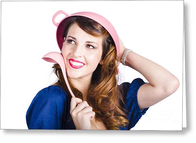 White Smock Greeting Cards - Pinup cook in funny pose Greeting Card by Ryan Jorgensen