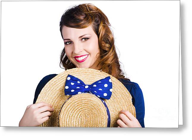 Bowtie Greeting Cards - Pinup girl with straw hat Greeting Card by Ryan Jorgensen
