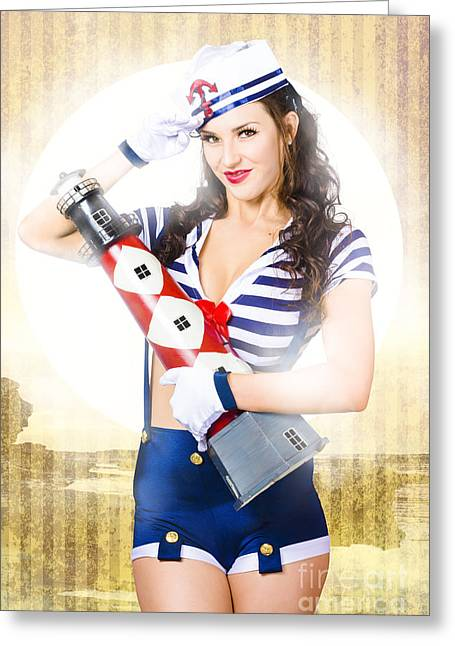 Suspenders Greeting Cards - Pinup portrait of young happy naval woman Greeting Card by Ryan Jorgensen