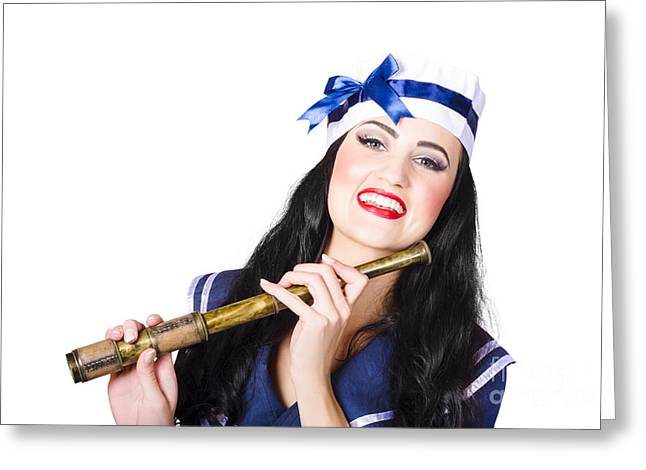Outlook Greeting Cards - Pinup sailor girl holding telescope Greeting Card by Ryan Jorgensen
