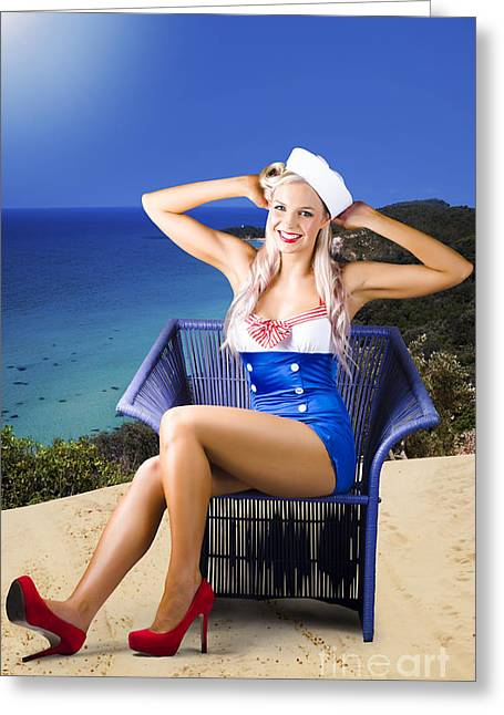 Hands Behind Head Greeting Cards - Pinup woman on a tropical beach travel tour Greeting Card by Ryan Jorgensen