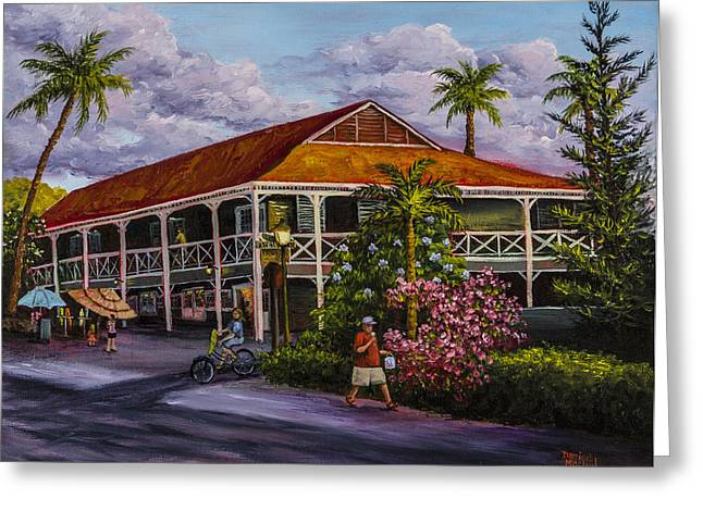 Red-roofed Buildings Greeting Cards - Pioneer Inn Lahaina Greeting Card by Darice Machel McGuire