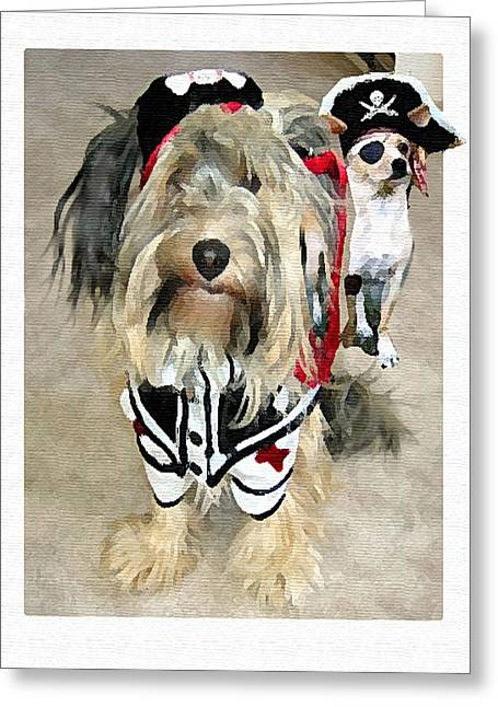 Funny Dog Digital Greeting Cards - Pirate Dogs Greeting Card by Jane Schnetlage