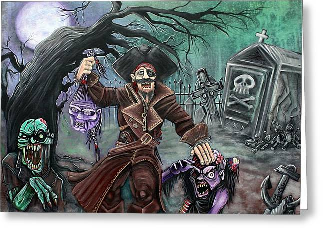 Pirates Paintings Greeting Cards - Pirates Graveyard Greeting Card by Laura Barbosa