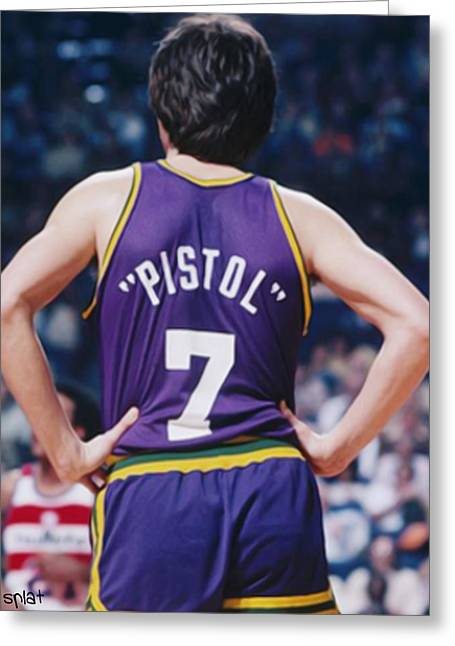 Kobe Bryant Greeting Cards - Pistol Pete Maravich Greeting Card by Paint Splat
