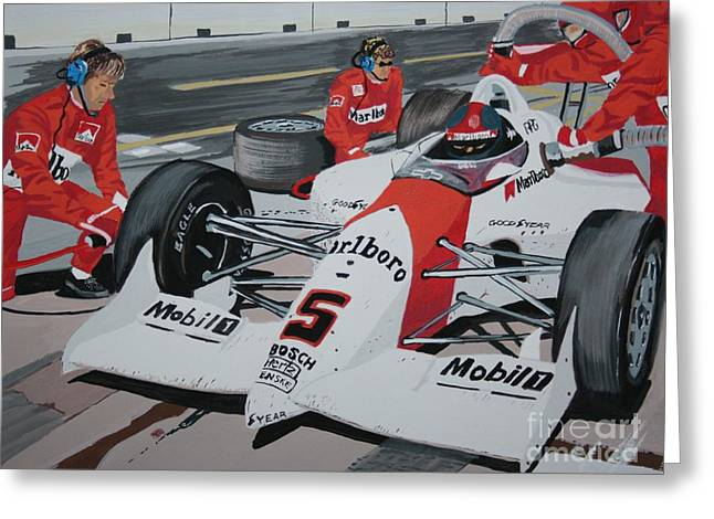 Indy Car Greeting Cards - Pit Stop Greeting Card by Stacy C Bottoms