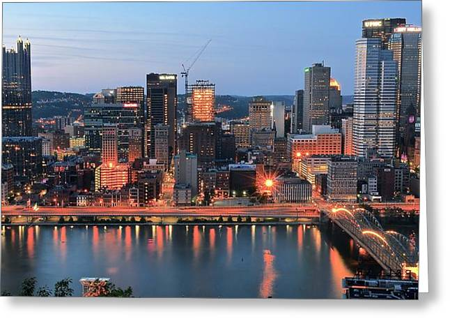 Pnc Park Greeting Cards - Pittsburgh at Dusk Greeting Card by Frozen in Time Fine Art Photography