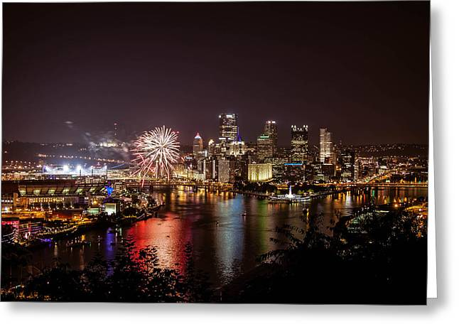 Pittsburgh Skyline.fireworks Greeting Cards - Pittsburgh at Night Greeting Card by Jane Galik