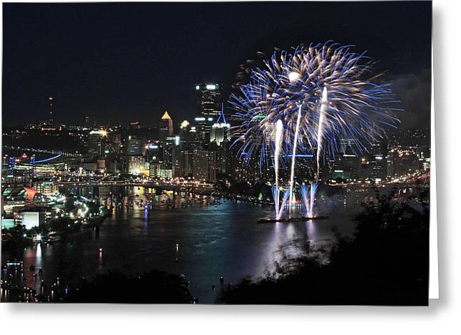 Pittsburgh Skyline.fireworks Greeting Cards - Pittsburgh Fireworks at Night Greeting Card by Cityscape Photography